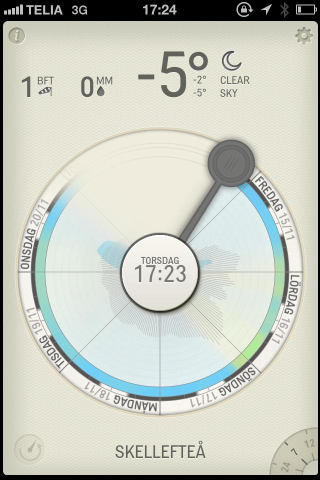 Screenshot från Partly Cloudy visar vädret i Skellefteå.