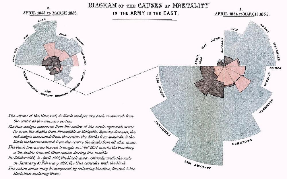 Diagram som visar orsaken till dödsfall bland soldater
