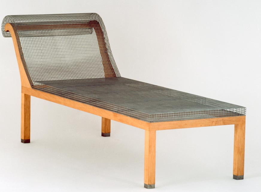 Sofa from  Parzival , 1987.  From an edition of nine, this piece is made of maple and stainless steel.  Designed by Robert Wilson