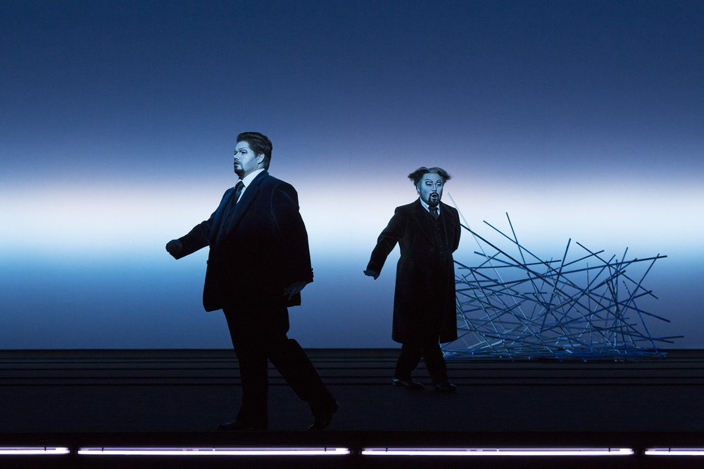 Seho Chang (Giorgio Germont), Jacques le Roux (Alfredo Germont)  Photograph © Lucie Jansch