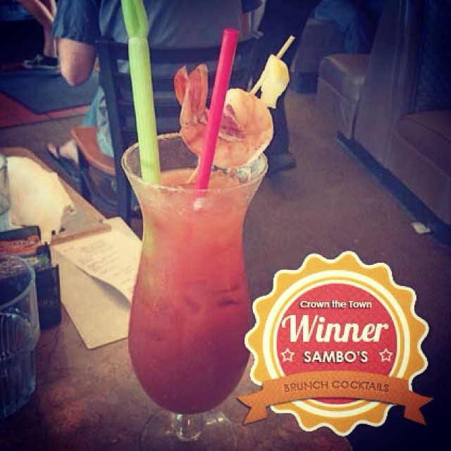 And the winner of our Brunch Cocktails edition is Sambo's. Their take on the classic Bloody Mary paired with crab cakes & excellent service won them the crown! Thanks to everyone who participated! #crownthetown #brunchcocktails #santabarbara