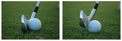 Center contact on the left. Thin or skulled on the right.