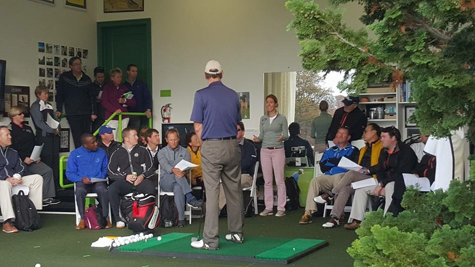 """Giving a """"live lesson"""" to fellow golf instructors"""