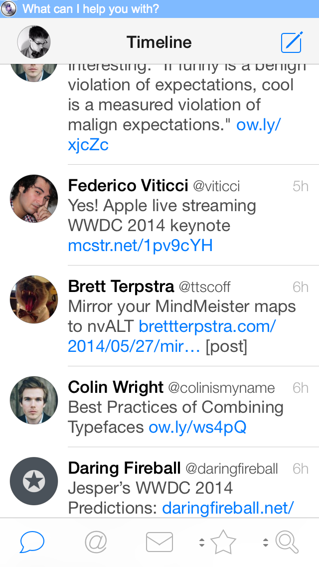 App in the background is Tweetbot 3.