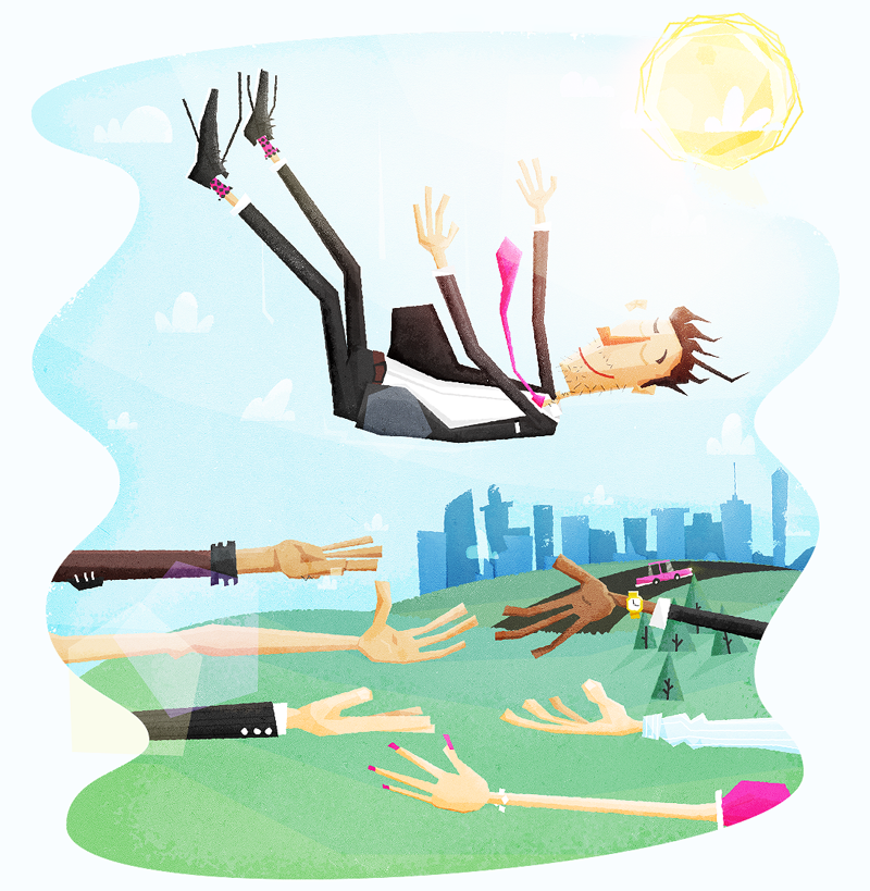 Company Trust Fall Illustration