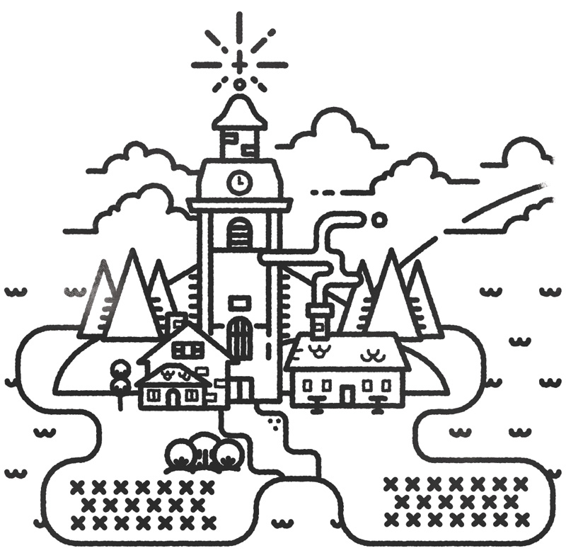 Jarvso swedish church illustration design