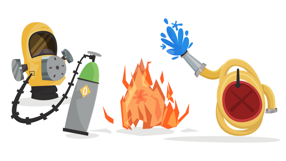 Gas mask, fire, and fire hose childrens illustrations