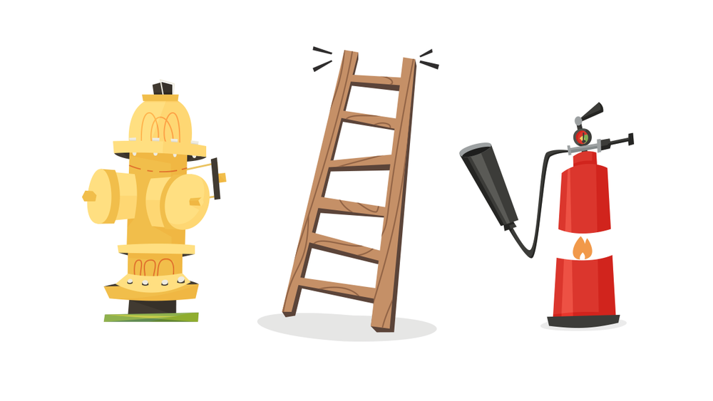 Fire hydrant, ladder, and fire extinguisher vector illustrations