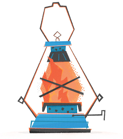 Idiots lantern campfire lantern logo