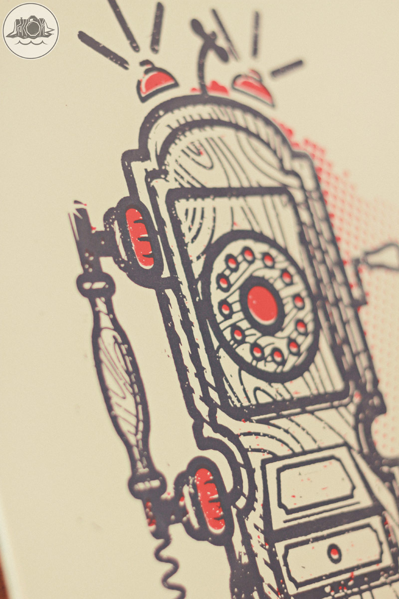 Retro telephone screen print design