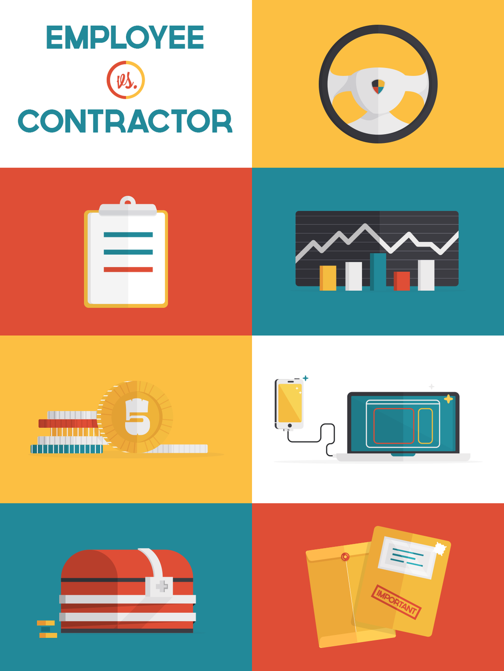 Employee vs contractor icon illustrations