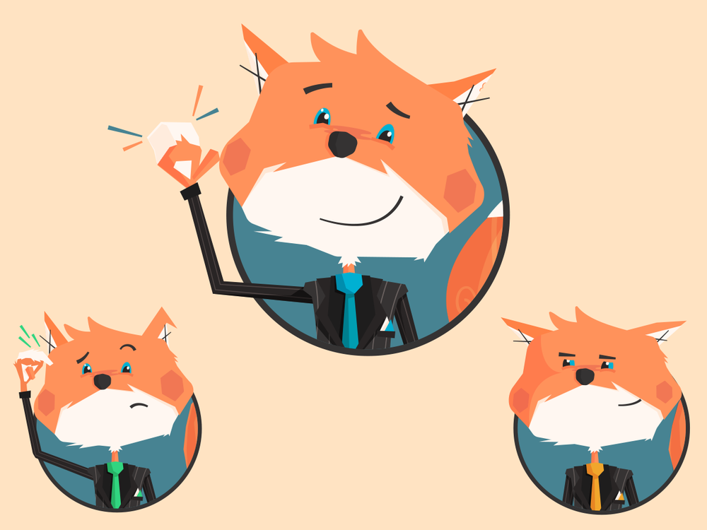 Using his tie colors and very basic changes in his features I'm able to bring out certain emotion easily. This is great for perhaps help messages in the app. If a form is invalid when submitted, he can be worried, if successful, yay!