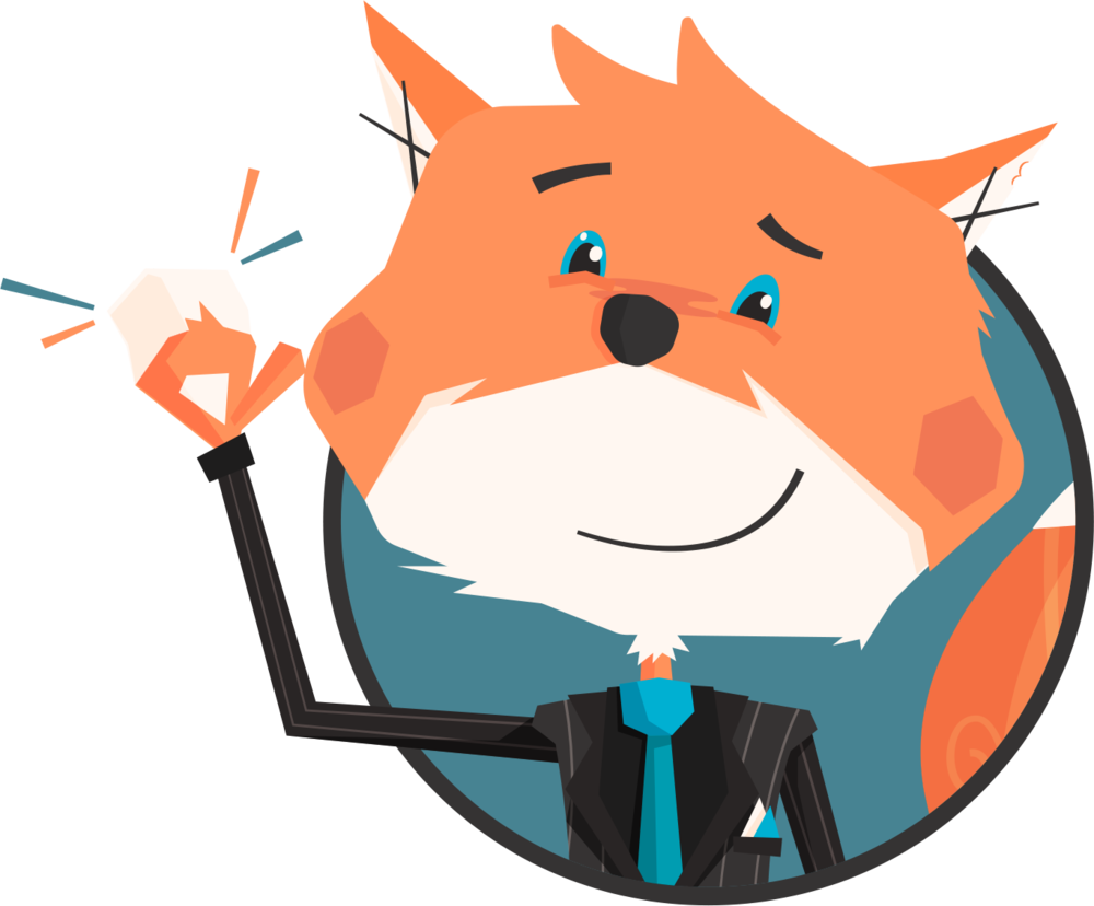 WorkMob Fox Mascot Waving and Smiling