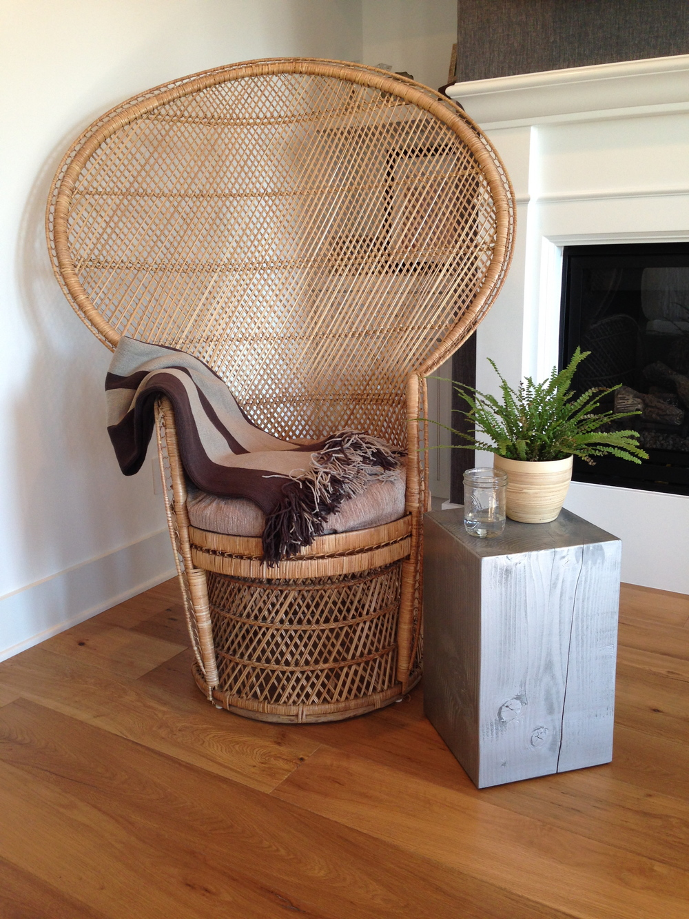 Silver Wood Block Side Table