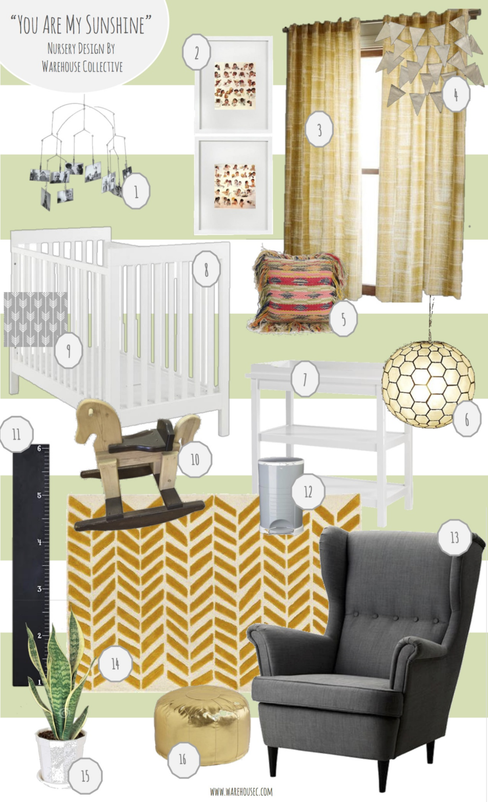 """The inspiration behind """"You Are My Sunshine"""" is a Neutral nursery filled with color that functions beautifully. Our client painted two walls and the ceiling with bold stripes inBehr Celery Bunch. With that as our base, we added1.All Modern Photo Mobile $192. Client's Vintage Norman Rockwell """"Life of a Boy/Girl"""" 3.West Elm Cotton Canvas Etched Grid Curtain $394.Land of Nod Metallic Pendant Gardland $305.Urban Outfitters Rag Fringe Pillow $696.West Elm Capiz Orb Pendant $1597.Land of Nod Change It Up Changing Table $3158.Land of Nod Elemental Crib $5999.Neon Earth Baby Fitted Crib Sheet $6510. Client's Vintage Wooden Rocking Horse 11.Land of Nod Inch by Inch Chalkboard Growth Chart $5912.Diaper Dekor Kolor Plus Pail $4613.Ikea Strandmon Wing Chair in Gray $279(DIY to Rocking Chair)14.Land of Nod Gold Bars Rug $39915.Ikea Potted Plant $1516.Land of Nod Faux Leather Seat $89"""