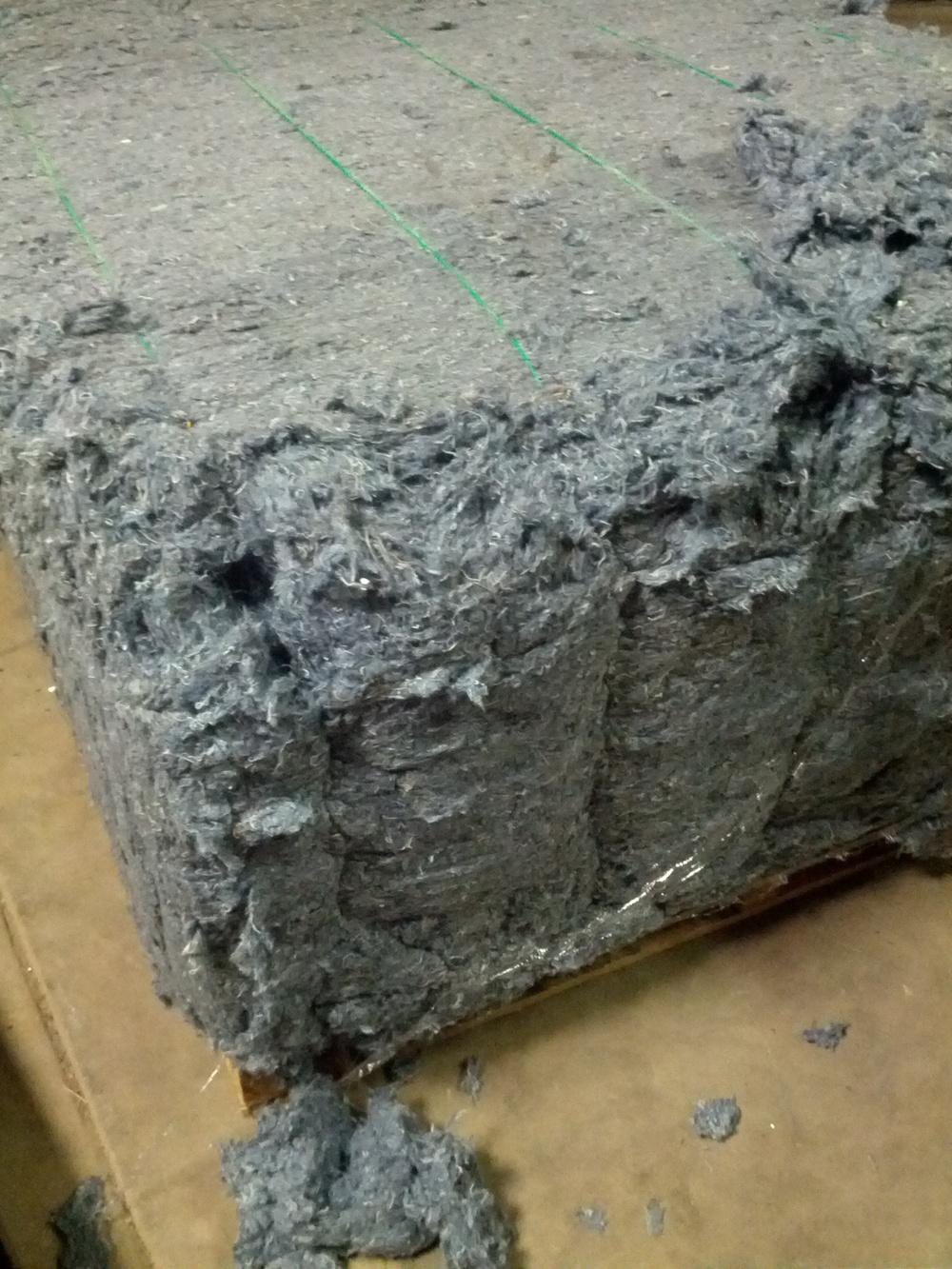 Denim shredded textile bale - 700 lbs.