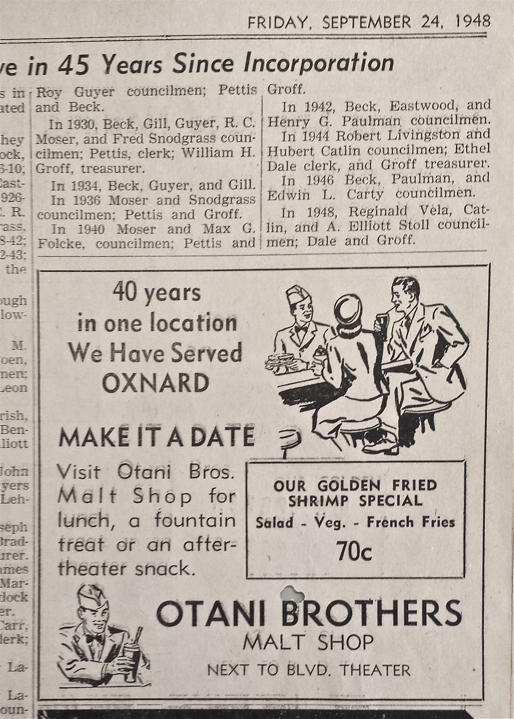 "Newspaper clipping from 1948 from Otani Brothers Malt shop. ""40 years in one location We Have Served OXNARD"""