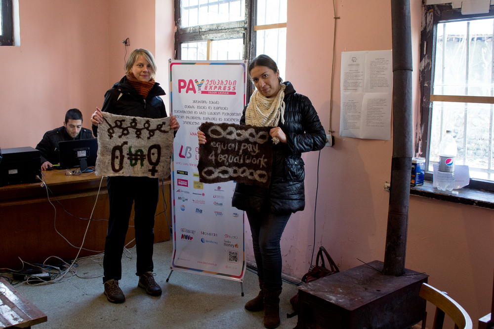 Melissa Potter and Ida Bakhturidze in a Georgian village credit union.