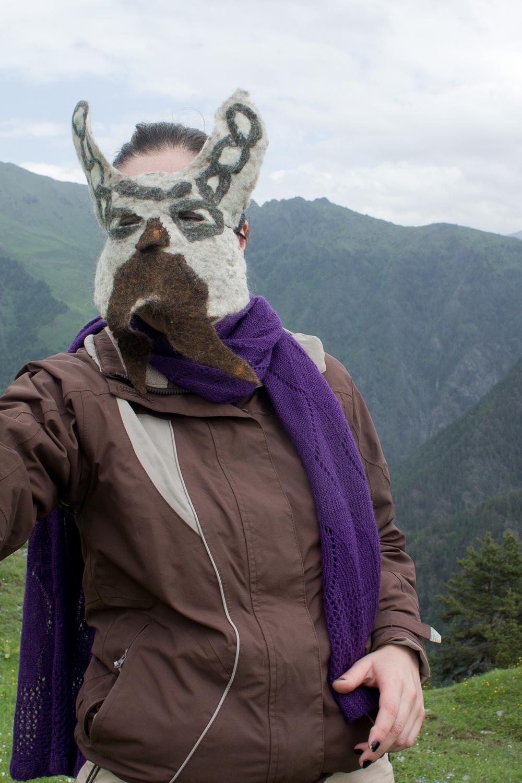 Ida Bakhturidze wearing bunny mustache mask designed by Melissa Potter