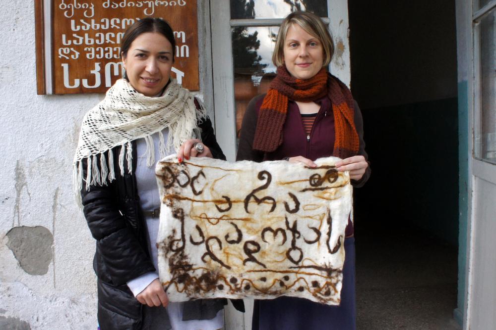 Ida Bakhturidze and Melissa Potter in front of the Alvani school.