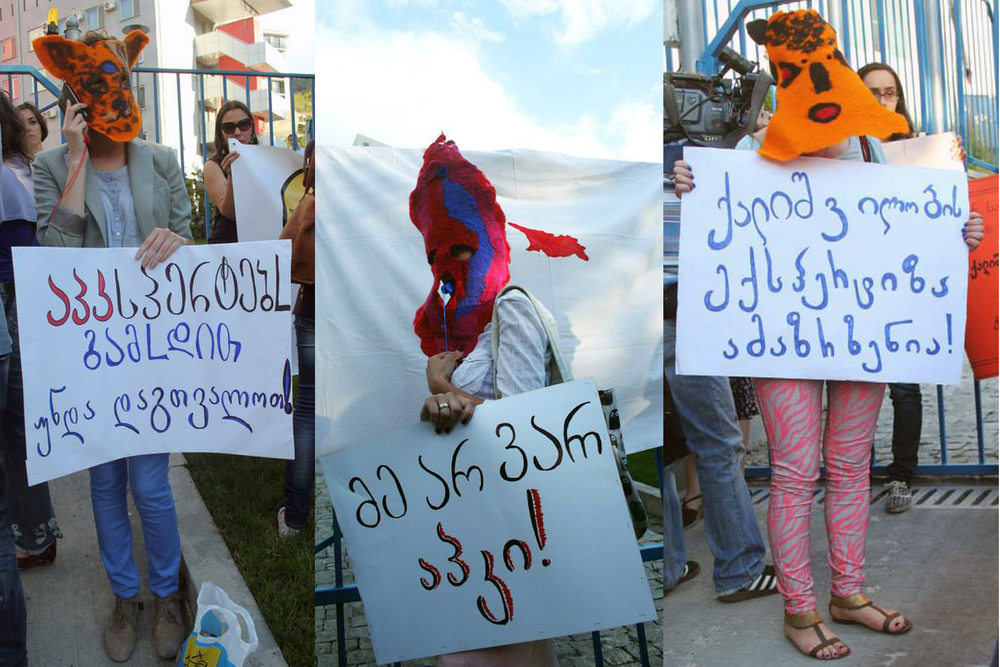 Felted masked activism at protests against virginity testing in Tbilisi.