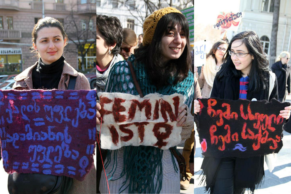 Tbilisi's first International Women's Day march with banners
