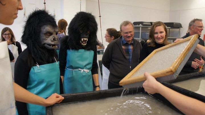 Working on a collaboration with The Guerrilla Girls making banana paper for a student interactive activist poster workshop.