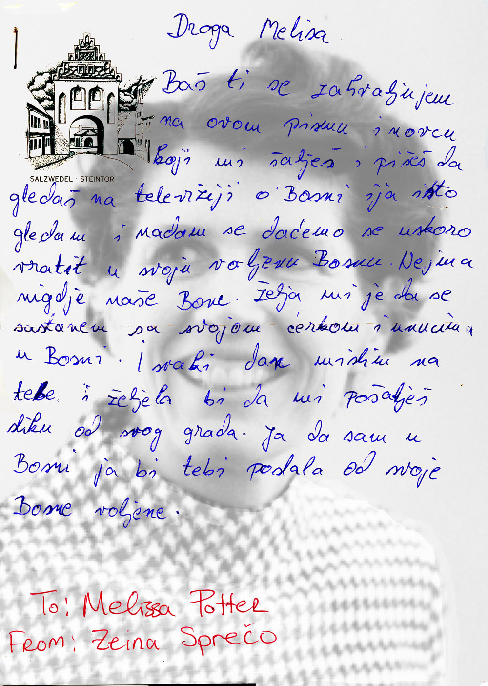 Photolithography of the letter Zejna wrote from a Croatian refugee camp, superimposed on a portrait of my grandmother.