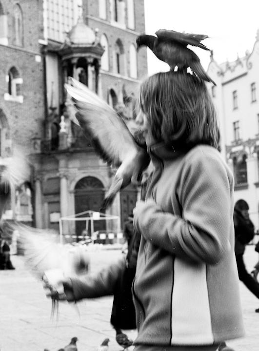 Pigeon Girl. Krakow, Poland
