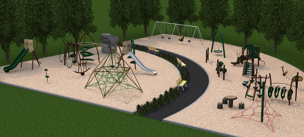 A visual representation of the playground to be built at Ron Duhamel Park.  The final product could differ slightly from the image.