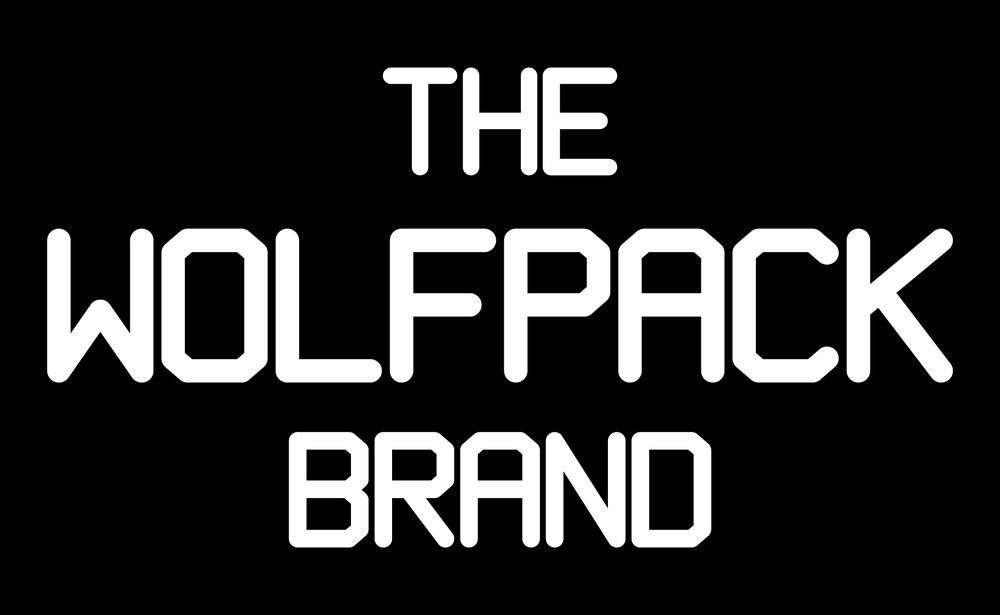 The Wolfpack Brand word logo.  The font was created specifically for the Wolfpack to use on apparel and accessories for all of their featured merch and social media.
