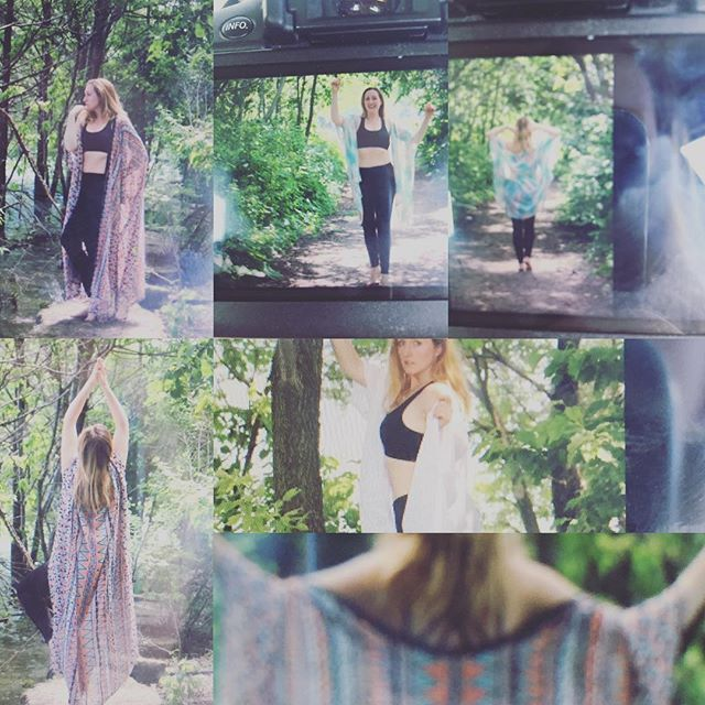 Sneak peek!  A few of my fave shots from today- modelling some brand new Reiki and Yoga Kimonos handmade in Canada- custom designed by Cathie and coming soon! #model #blonde #yoga #nature #lake #water #forest #girl #women #clothes #fashion #fitness