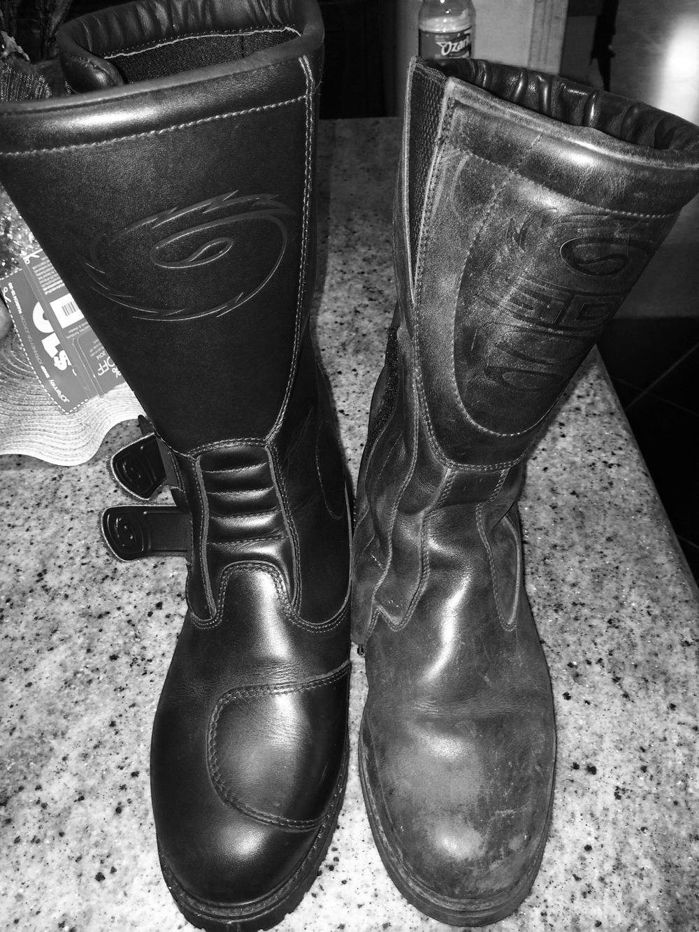 "New ""On Road"" leather boot on left and my 10 year old Lorica boot on the right!"
