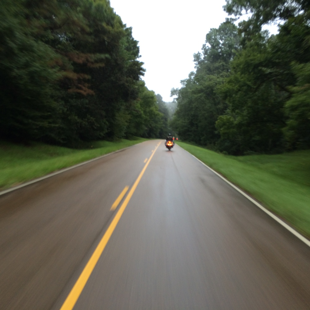 Riding the Natchez Trace on a rainy afternoon.