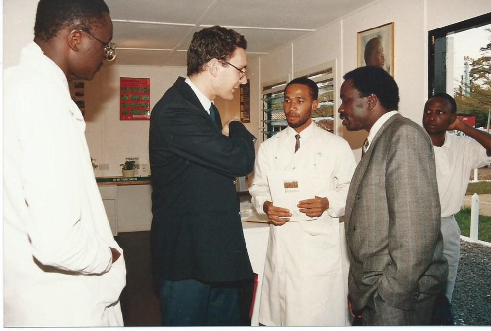 A BBC Journalist Interviewing Dr. Alfred Latigo as ABI-GIDE PhD Students look on (1993)