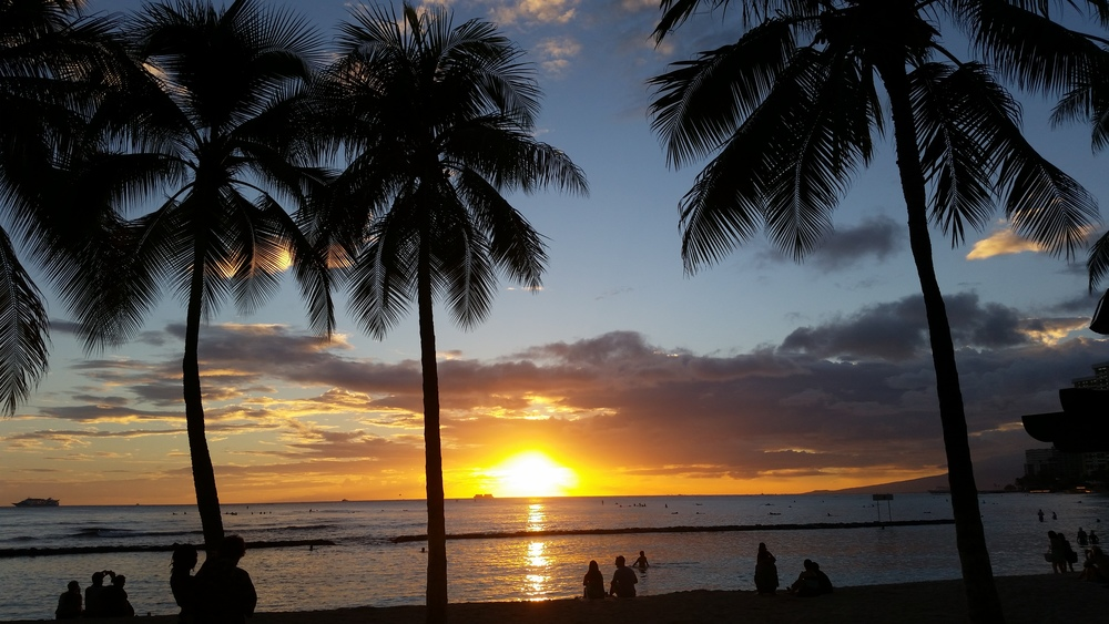 "Honolulu sunset over the Pacific ocean:  We need ""Impact Evaluation"" now before it is too costly, too late to transform lives world-wide!"