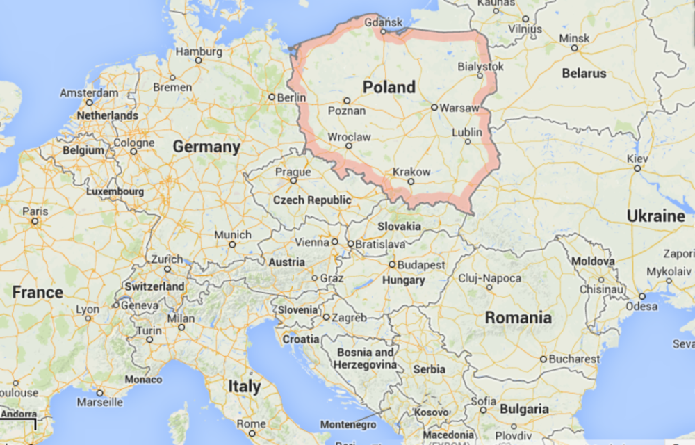 Map of Poland (Credits: Google Maps)