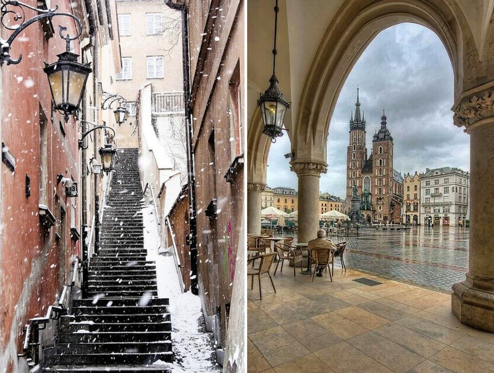 (Left) Warsaw; (Right) Main market square in Krakow Old Town - where many feed pigeons! (Photo credits: Pinterest)