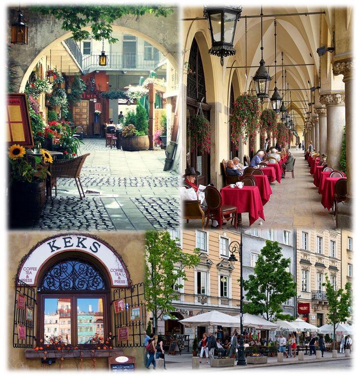 Few of the beautiful cafes in Poland to experience exquisite Poland treats. (Top 2) Cafes in Krakow; (Bottom 2) Cafes in Warsaw (Photo credits: Pinterest)