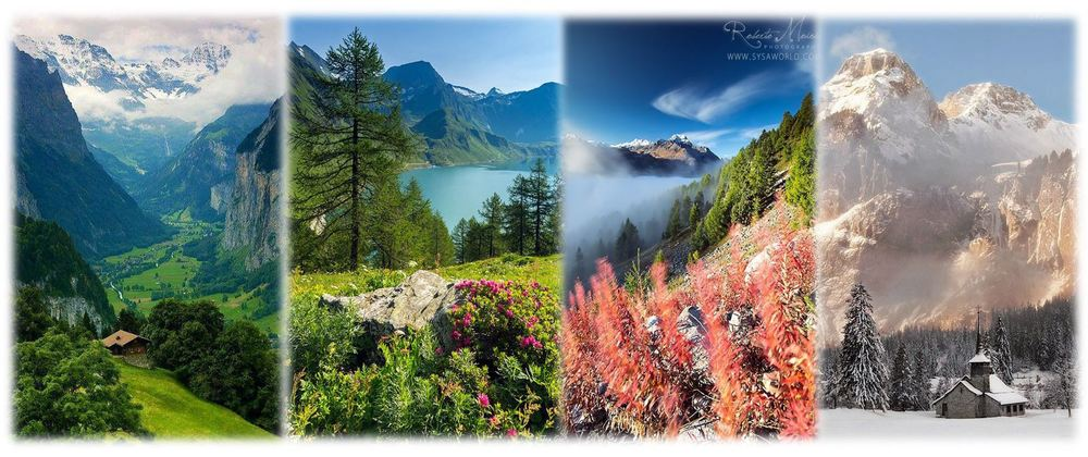 The Swiss Alps throughout the seasons. Absolutely breathtaking. (Credits: Pinterest)