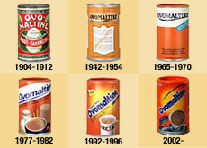 It's interesting to see the changes in the Ovomaltine packaging over the years. (Credits: Swissinfo.ch)