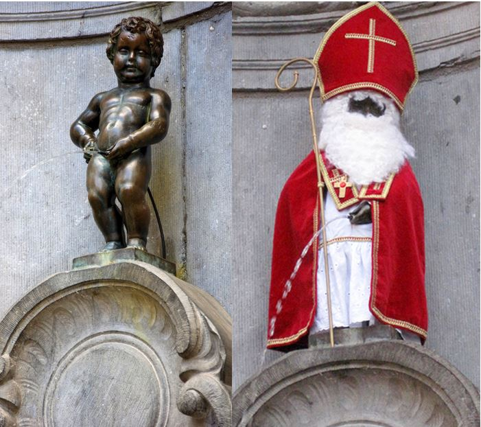 Hohoho... who?Manneken Pis as St Niklaas -- Saint Nicholas, later known as Santa Claus.