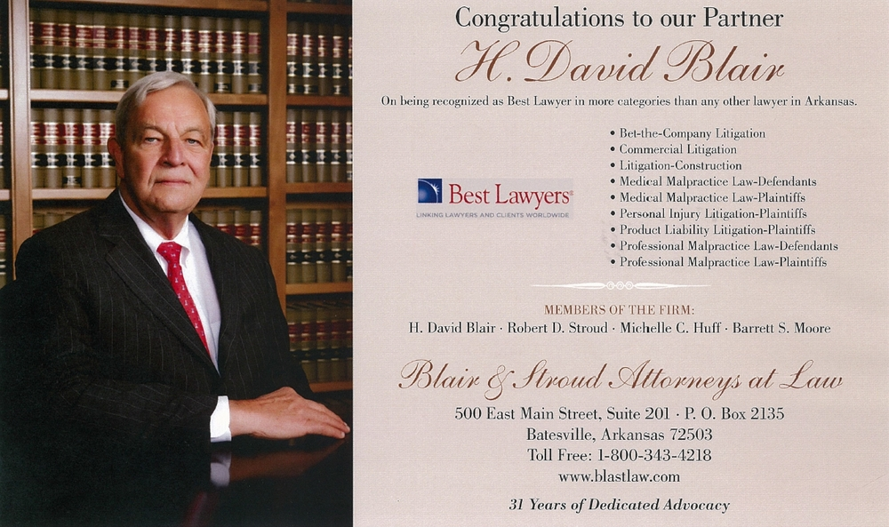 David Blair again named Best Lawyer in more categories than any other lawyer in Arkansas