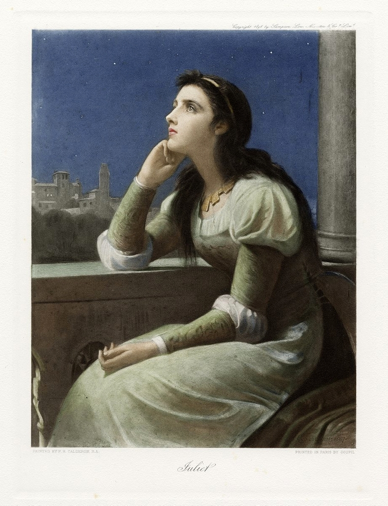 P. H. Calderon. Juliet from The Graphic gallery of Shakespeare's heroines. Color print, 1896.