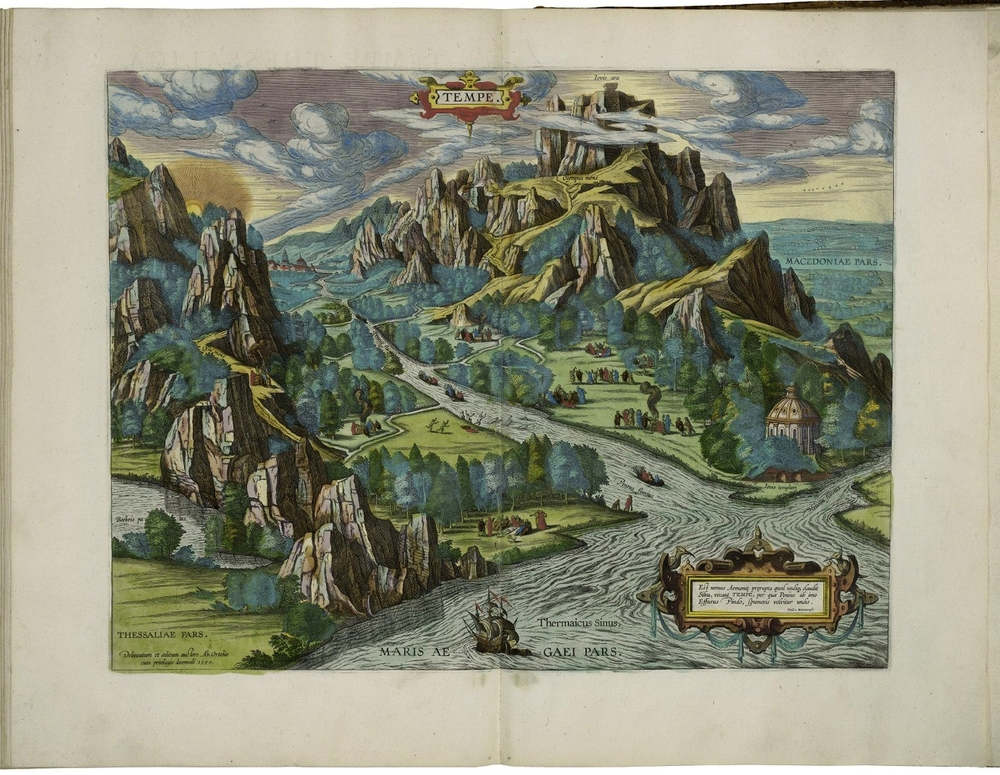 Image of Tempe in Thessaly from Abraham Ortelius. Theatrum orbis terrarum. London, 1606.