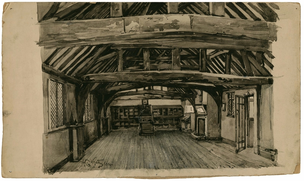 The Grammar School, Stratford-on-Avon: the room where Shakespeare is traditionally said to have been taught. A.C. Wyatt, 1904.