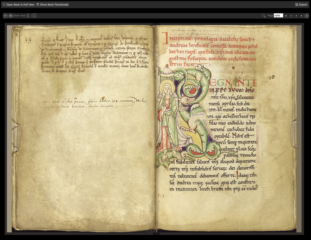 The Textus Roffensis, a 12th-century manuscript of English law from the University of Manchester.