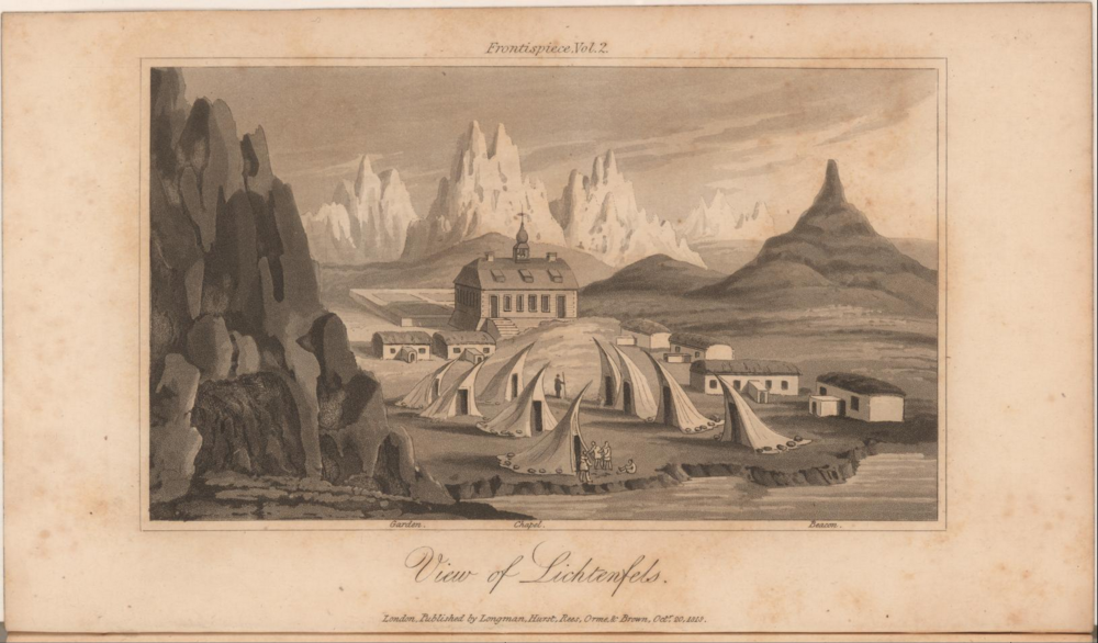 The missionary settlement  of Lichtenfels on the west coast of Greenland, with Inuit dwellings.  Image date: 1818.