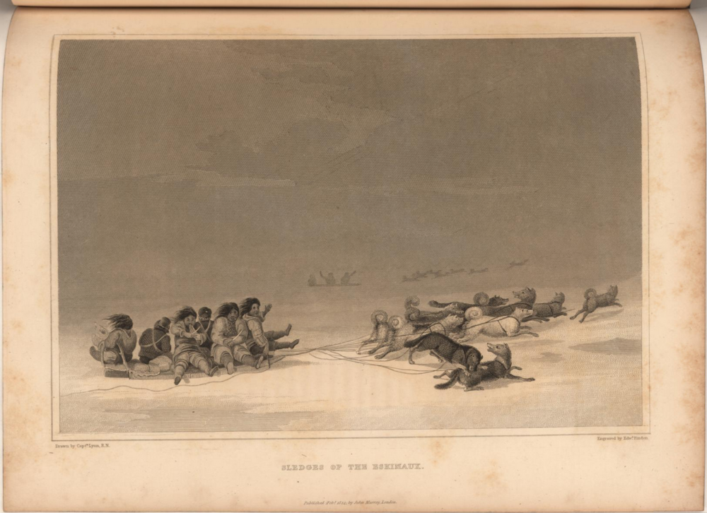 From Sir William Edward Parry's journal of a second voyage for the discovery of a Northwest Passage, Inuit ride on a dog sled.  Image date: 1824.