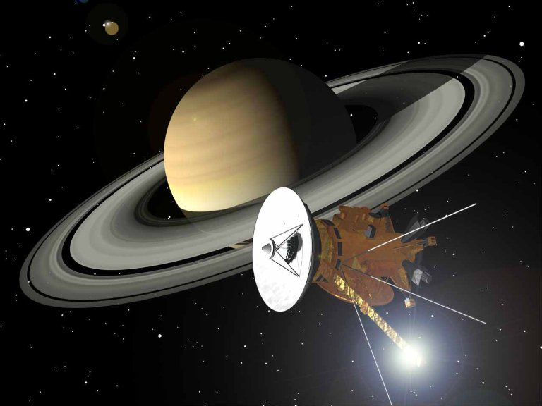 An artist's rendition of the Cassini spacecraft approaching the planet Saturn.